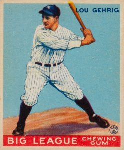 Baseball card of Lou Gehrig of the New York Yankees, #92 Goudey Gum Company source - Public Domain